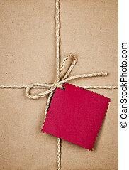 papier brun, étiquette, rouges, cadeau