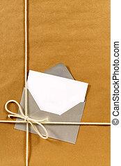 papier brun, enveloppe, paquet, argent