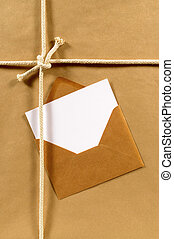 papier brun, enveloppe, paquet