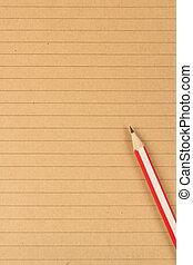 papier brun, fond, écriture