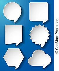 papier, bulles, vecteur, parole, vide
