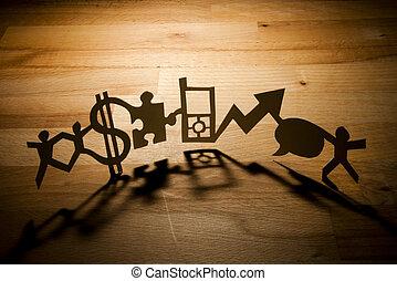 papier, business, chaîne