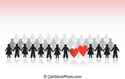 papier, cœurs, hommes, foule, femmes
