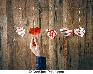 papier, cœurs, sur, bois, fond