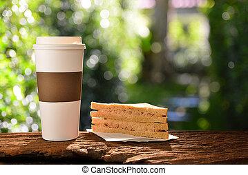 papier, café, sandwich, jardin, tasse