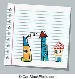 papier cahier, enfant, dessins