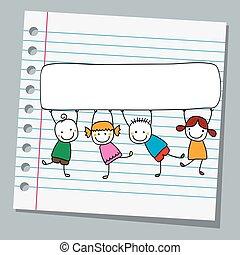 papier, cahier, gosses