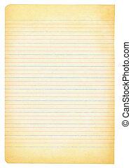 papier, cahier, yellowed