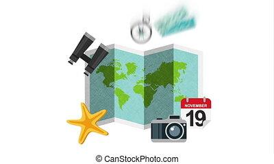 papier, carte, guide voyage, ensemble, articles, animation