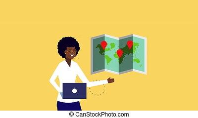 papier, carte, ordinateur portable, utilisation, afro, animation, femme affaires