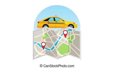 papier, carte, taxi, transport, service