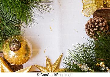 papier, chrismas, décorations, page