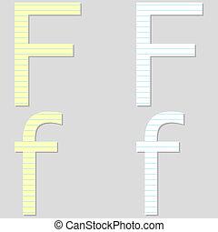 papier, chrzcielnica, komplet, litera f