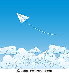 papier, ciel, avion, nuages, contre