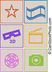 papier, cinéma, retro, icônes