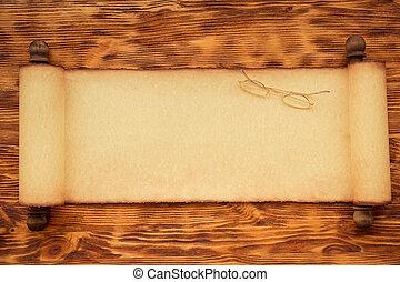 papier, claus, bois, rouleau, santa