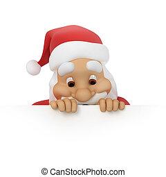 papier, claus, regarde, santa, dehors