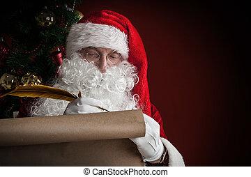 papier, claus, rouleau, santa, écriture