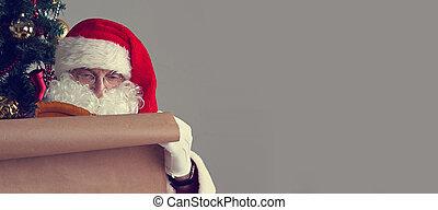 papier, claus, vieux, santa, écriture