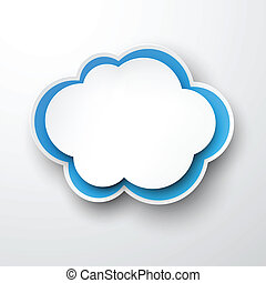 papier, cloud., white-blue