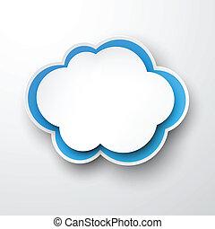 papier, cloud., white-blue