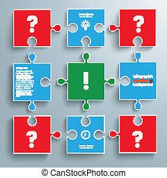 papier coloré, puzzles, question, réponse