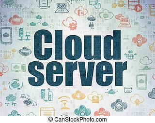 papier, concept:, fond, technologie numérique, nuage, serveur, données