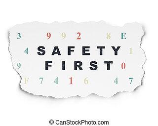 papier, concept:, hintergrund, sicherheit, schutz, zuerst, zerrissene