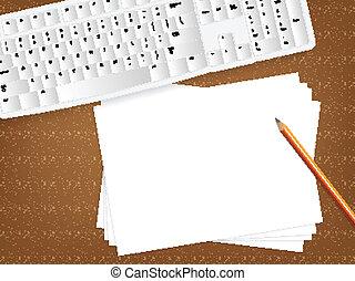 papier, concept, vide, bureau