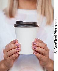 papier, copie, mains, lever, femme, café, t-shirt, tasse,...