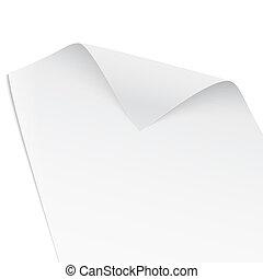 papier, corner., tordu
