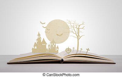 papier, coupure, de, halloween, sur, vieux, livre