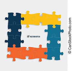 papier, coupure, illustration., vecteur, puzzle.