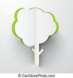 papier, coupure, vecteur, arbre, illustration