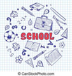papier, croquis, éléments, carré, école