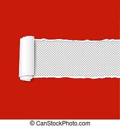 papier déchiré, arrière-plan rouge, bord