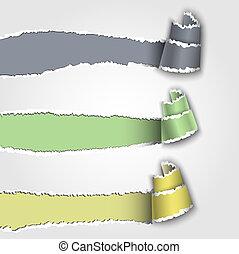 papier déchiré, bannière, trois