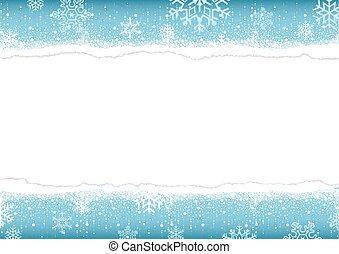 papier déchiré, hiver, fond