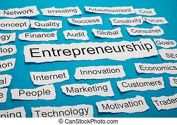 papier, déchiré, mot, morceau, entrepreneurship
