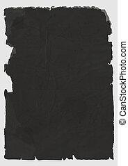 papier déchiré, noir, feuille, vecteur