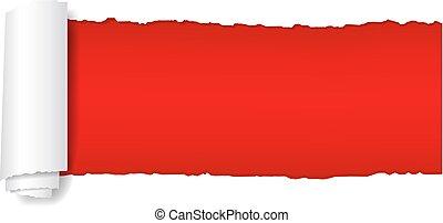 papier déchiré, rouges