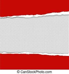 papier, déchiré, rouges