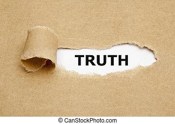 papier déchiré, vérité