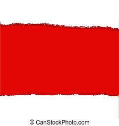 papier, déchirure, arrière-plan rouge