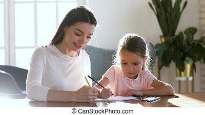 papier, daughter., album, afbeeldingen, kinderjuffrouw, ...