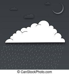 papier, dehors, coupure, nuages, nuit