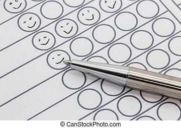 papier, dessiné, smileys, évaluation, main