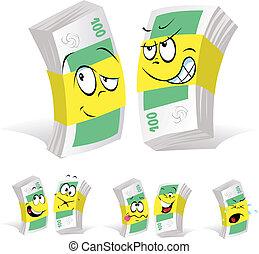 papier, dessin animé, argent