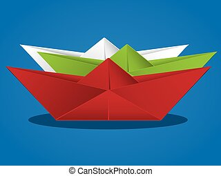 papier, dessin animé, bateau