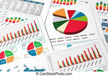 papier, diagrammen, en, grafieken, in, rapport